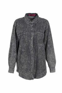 Womens Acid Wash Oversized Denim Shirt - black - S/M, Black