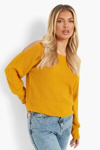 Womens Cold Shoulder Moss Stitch Jumper - yellow - M, Yellow