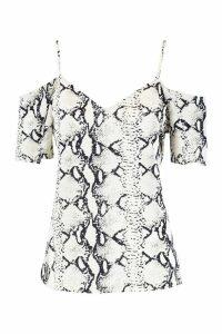 Womens Snake Print Woven Cold Shoulder Cami - white - 10, White