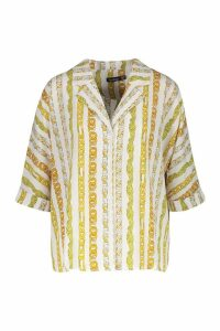 Womens Chain Stripe Print Revere Collar Shirt - white - 8, White