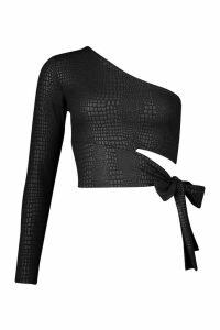 Womens Croc Cut Out One Shoulder Top - black - 16, Black