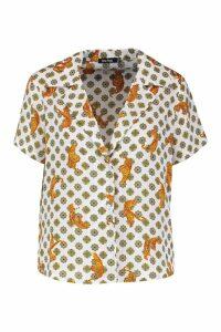 Womens Tiger Print Bowling Revere Collar Shirt - white - 6, White