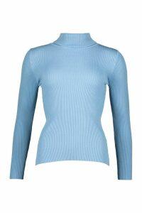 Womens Rib Knit Roll Neck Jumper - blue - M/L, Blue