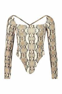 Womens Snake Print Square Neck Bodysuit - beige - 14, Beige