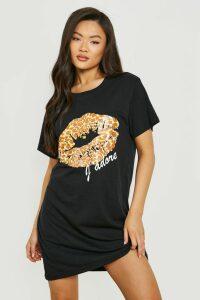 Womens Leopard Print Lips T-Shirt Dress - black - 14, Black