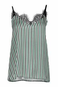 Womens Satin Lace Trim Green Stripe Cami - 8, Green
