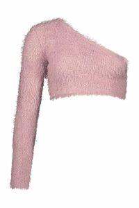 Womens One Shoulder Fluffy Knit Jumper - pink - 12, Pink