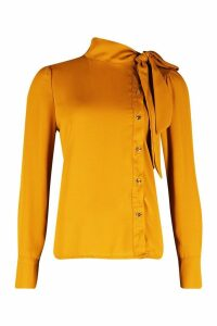 Womens Woven Pussybow Button Detail Blouse - yellow - 14, Yellow