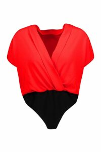 Womens Wrap Woven Short Sleeved Bodysuit - red - 14, Red