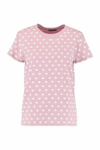 Womens Love Heart Repeat Print T-Shirt - Pink - L, Pink