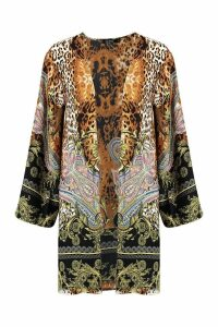 Womens Woven Mixed Paisley Leopard Kimono - beige - S, Beige