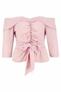 Womens Ruched Off The Shoulder Tie Detail Top - pink - 14, Pink