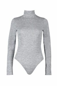 Womens Marl Knit Roll Neck Bodysuit - grey - 14, Grey