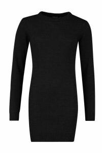 Womens Crew Neck Long Sleeve Dress - black - XS, Black