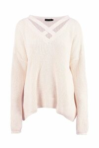 Womens Oversized Strap Neck Jumper - white - S/M, White