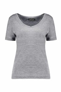 Womens Basic Super Soft V Neck T-Shirt - grey - 24, Grey