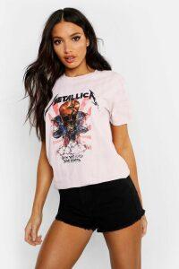Womens Metallica Washed Slogan T-Shirt - Pink - M, Pink