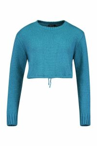 Womens Ruched Hem Soft Knit Jumper - peacock blue - M, Peacock Blue