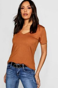 Womens Basic Super Soft V Neck T-Shirt - beige - 10, Beige