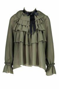 Womens Ruffle Front Full Sleeve Blouse - green - 14, Green