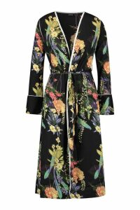 Womens Dark Tropical Floral Belted Kimono - black - M, Black