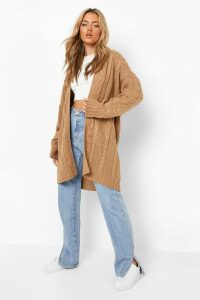 Womens Slouchy Cable Knit Cardigan - beige - M/L, Beige