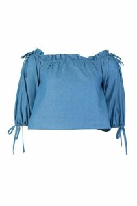 Womens Shoulder Detail Tie Chambray Top - blue - 10, Blue