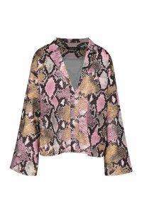 Womens Pastel Snake Print Flared Sleeve Shirt - Pink - 8, Pink