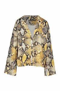 Womens Pastel Snake Print Flared Sleeve Shirt - yellow - 14, Yellow