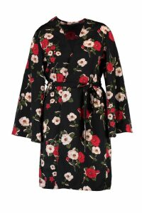 Womens Plus Kerry Floral Belted Kimono - black - 22, Black