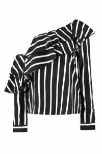 Womens Stripe Ruffle One Shoulder Woven Blouse - black - 16, Black