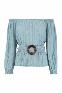 Womens Oversized Wood Effect Buckle Ruched Bardot Top - dusty blue - 14, Dusty Blue