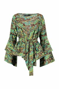 Womens Green Snake Flare Wrap Blouse - 16, Green