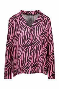 Womens Woven Tiger Shirt - Pink - 6, Pink