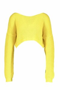 Womens V-Back Crop Jumper - yellow - M, Yellow