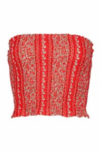 Womens Floral Woven Shirred Bandeau - XS, Red