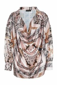 Womens Satin Chain Print Cowl Neck Shirt - Beige - 6, Beige