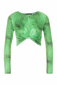 Womens Croc Print Slinky Twist Knot Top - green - 14, Green