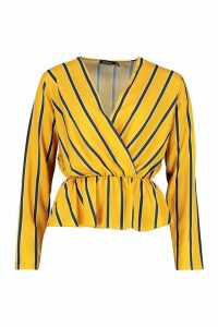 Womens Woven Stripe Plunge Blouse - yellow - 10, Yellow
