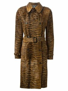 Alexander McQueen Pre-Owned 2003 zebra print trench coat - Brown