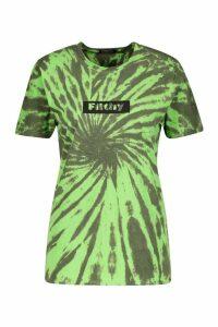 Womens Filthy Swirl Tie Dye Graphic Tee - green - S, Green