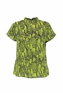 Womens Woven Snake Print High Neck Blouse - green - 14, Green