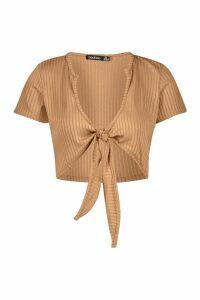 Womens Jumbo Rib Tie Front Notch Neck Crop - beige - 14, Beige
