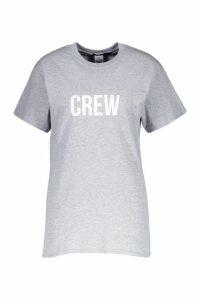 Womens Crew Slogan T-Shirt - grey - XL, Grey
