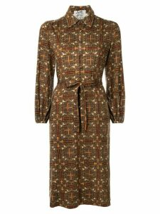 Hermès Pre-Owned horse print shirt dress - Brown