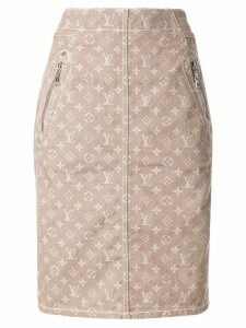 Louis Vuitton Pre-Owned jacquard monogram straight skirt - Neutrals
