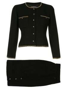 Chanel Pre-Owned chain trim skirt suit - Black