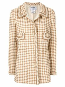 Chanel Pre-Owned checked single-breasted jacket - Neutrals