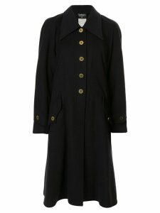 Chanel Pre-Owned logo buttons coat - Black