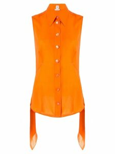Hermès Pre-Owned layered pointed sleeveless blouse - Orange